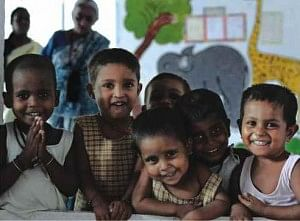 children at mobile creche